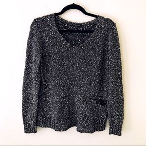 EILEEN FISHER Black and White Marled Sweater